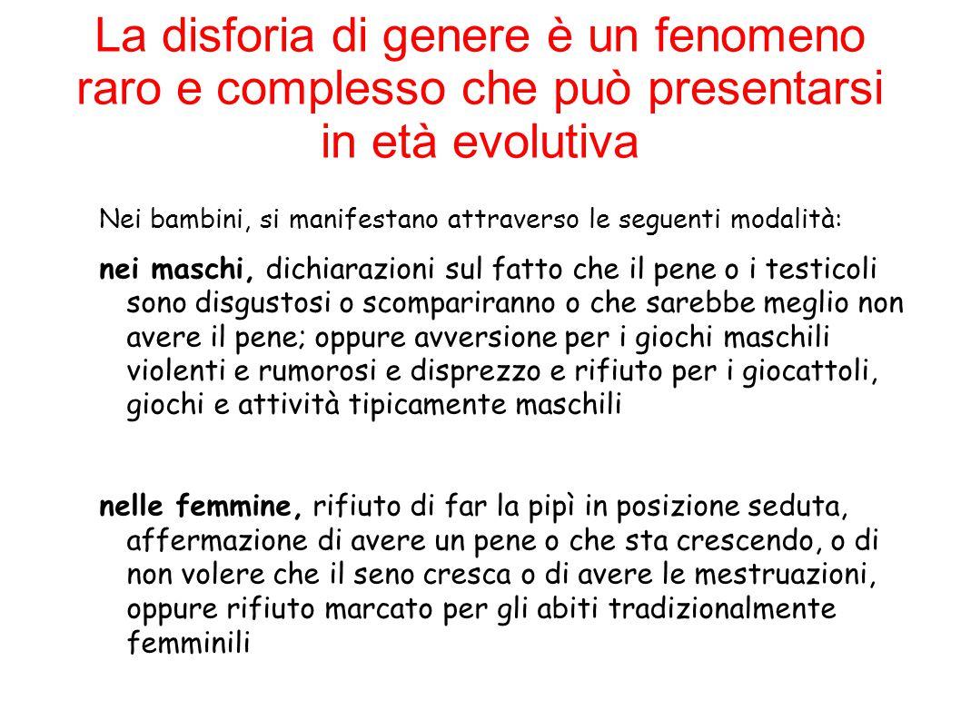 La disforia di genere è un fenomeno raro e complesso che può presentarsi in età evolutiva Nei bambini, si manifestano attraverso le seguenti modalità: