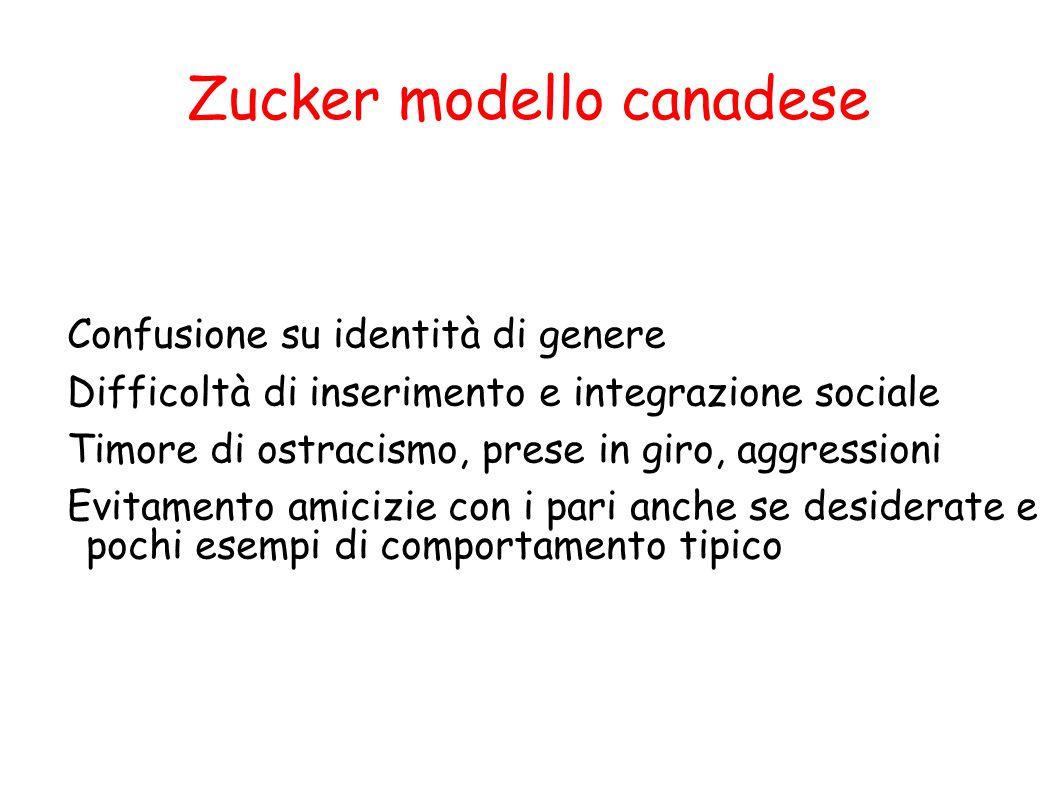 Zucker modello canadese Confusione su identità di genere Difficoltà di inserimento e integrazione sociale Timore di ostracismo, prese in giro, aggress