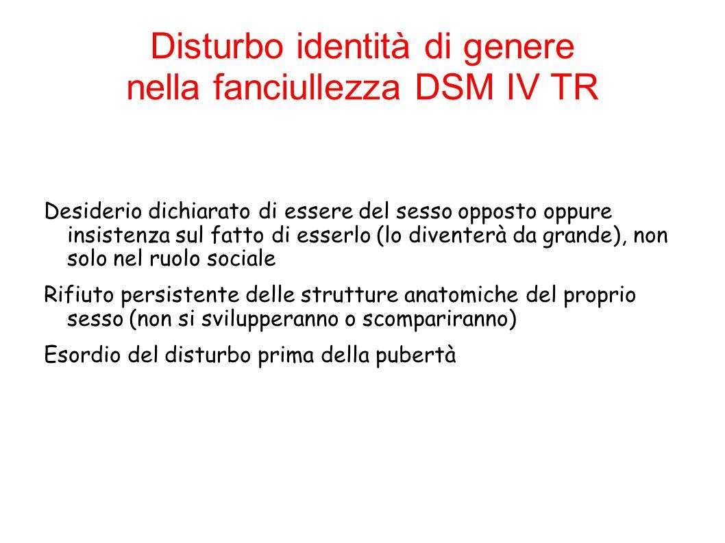 Disturbo identità di genere nell'adolescenza DSM IV TR Presenta le stesse caratteristiche del disturbo nell'infanzia Non presa in considerazione l'età di insorgenza Viene diagnosticato quale Disturbo atipico dell'Identità di genere