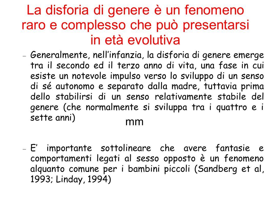 La disforia di genere è un fenomeno raro e complesso che può presentarsi in età evolutiva mm  la differenza sostanziale è nel grado in cui si manifestano questo comportamenti e nel ruolo che essi hanno nel funzionamento adattivo del bambino.