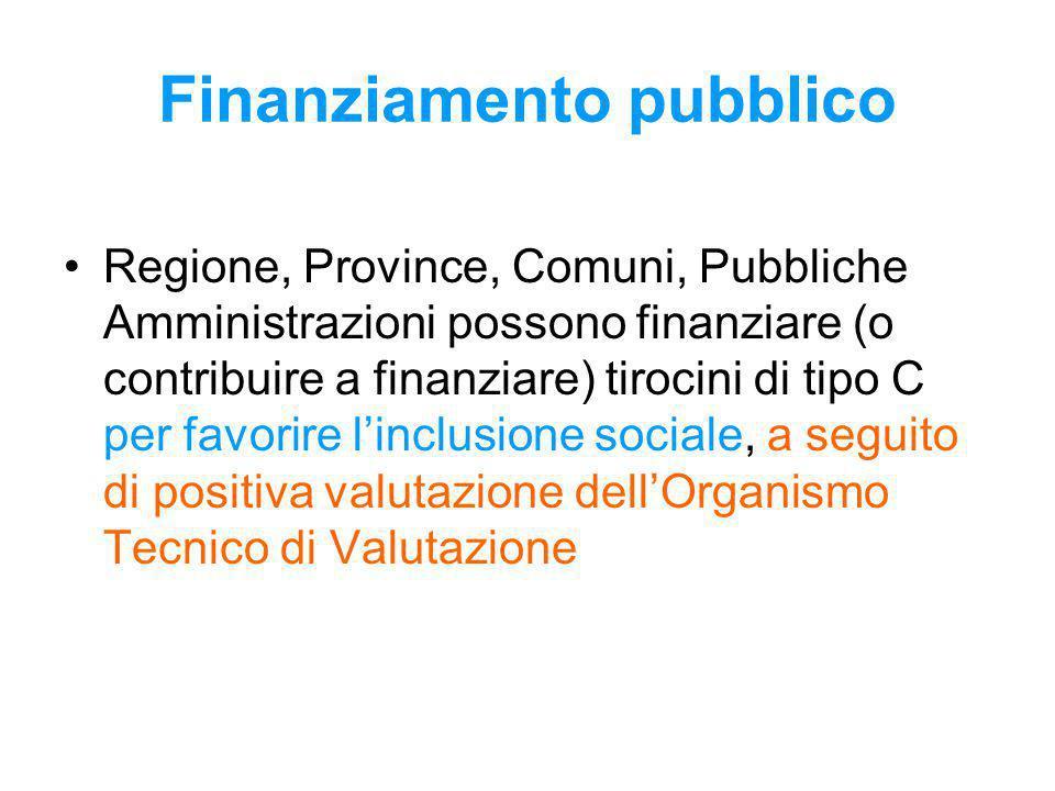 Finanziamento pubblico Regione, Province, Comuni, Pubbliche Amministrazioni possono finanziare (o contribuire a finanziare) tirocini di tipo C per favorire l'inclusione sociale, a seguito di positiva valutazione dell'Organismo Tecnico di Valutazione