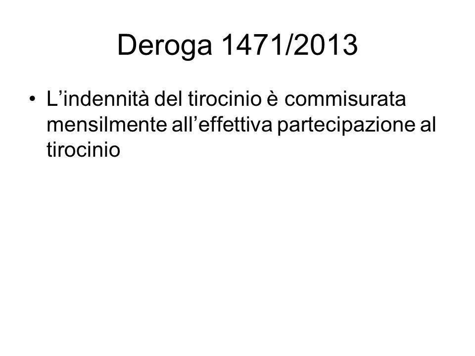 Deroga 1471/2013 L'indennità del tirocinio è commisurata mensilmente all'effettiva partecipazione al tirocinio
