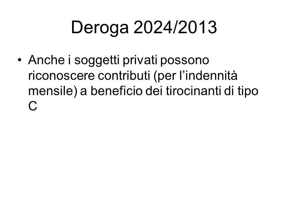 Deroga 2024/2013 Anche i soggetti privati possono riconoscere contributi (per l'indennità mensile) a beneficio dei tirocinanti di tipo C