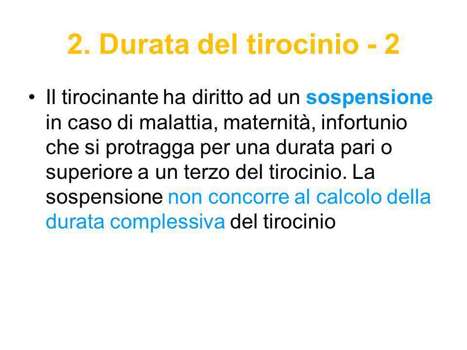 2. Durata del tirocinio - 2 Il tirocinante ha diritto ad un sospensione in caso di malattia, maternità, infortunio che si protragga per una durata par