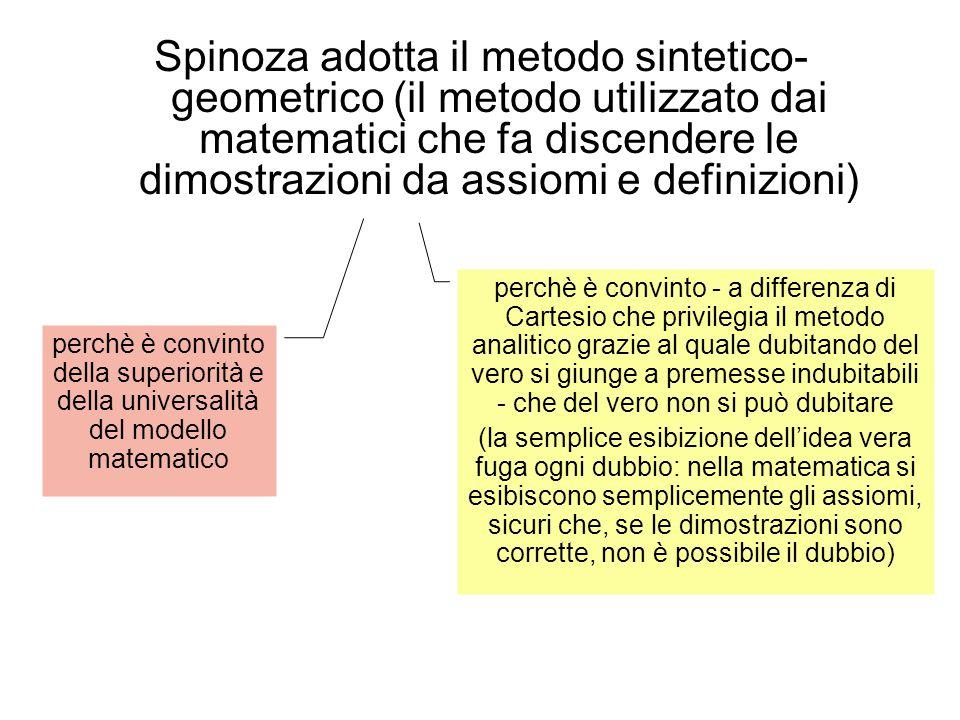 Spinoza adotta il metodo sintetico- geometrico (il metodo utilizzato dai matematici che fa discendere le dimostrazioni da assiomi e definizioni) perchè è convinto della superiorità e della universalità del modello matematico perchè è convinto - a differenza di Cartesio che privilegia il metodo analitico grazie al quale dubitando del vero si giunge a premesse indubitabili - che del vero non si può dubitare (la semplice esibizione dell'idea vera fuga ogni dubbio: nella matematica si esibiscono semplicemente gli assiomi, sicuri che, se le dimostrazioni sono corrette, non è possibile il dubbio)