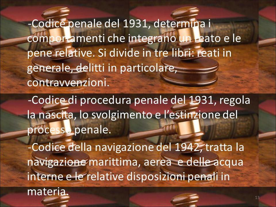 -Codice penale del 1931, determina i comportamenti che integrano un reato e le pene relative.