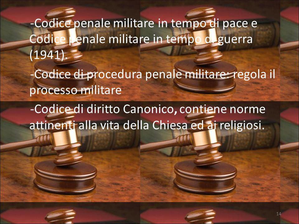 -Codice penale militare in tempo di pace e Codice penale militare in tempo di guerra (1941).