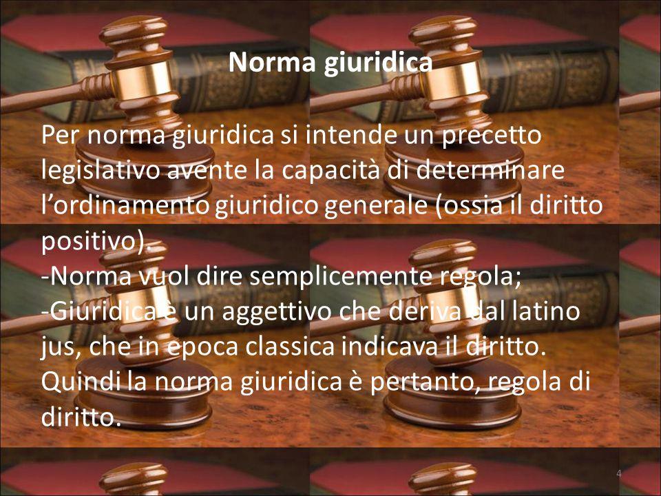 Norma giuridica Per norma giuridica si intende un precetto legislativo avente la capacità di determinare l'ordinamento giuridico generale (ossia il diritto positivo).
