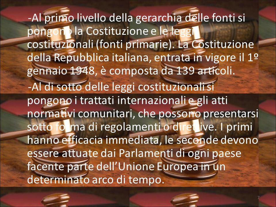 -Al primo livello della gerarchia delle fonti si pongono la Costituzione e le leggi costituzionali (fonti primarie).