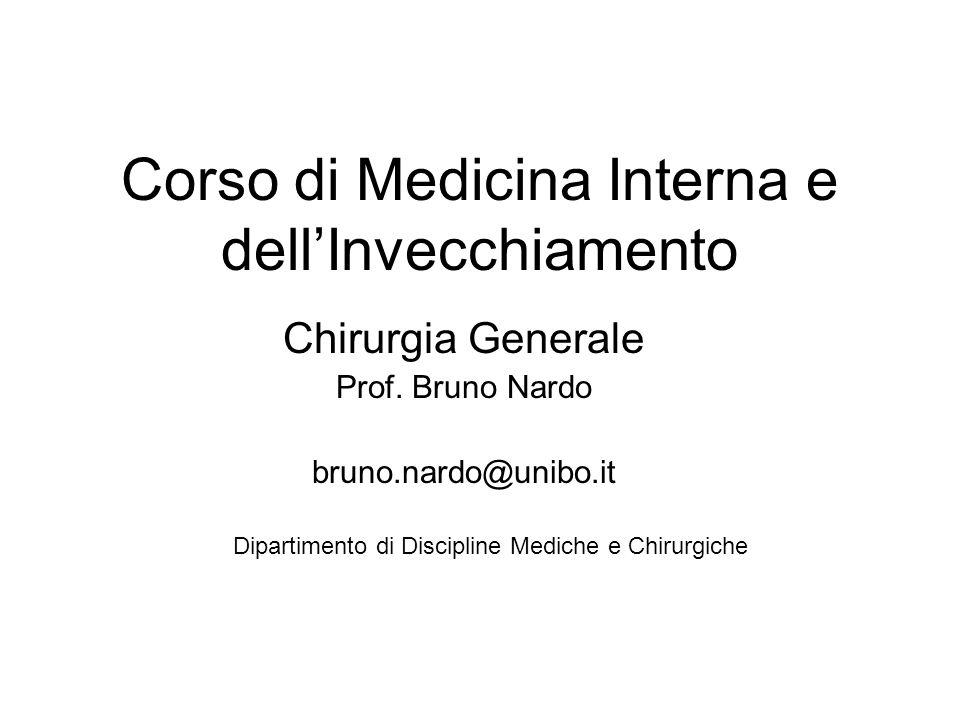 Corso di Medicina Interna e dell'Invecchiamento Chirurgia Generale Prof. Bruno Nardo bruno.nardo@unibo.it Dipartimento di Discipline Mediche e Chirurg