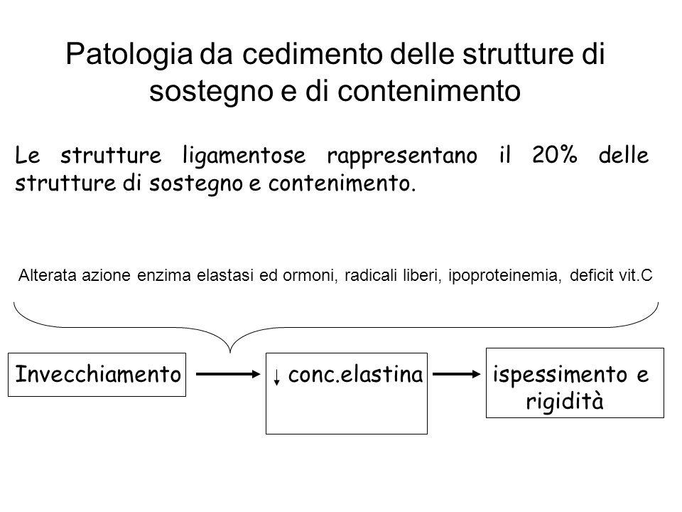 Patologia da cedimento delle strutture di sostegno e di contenimento Le strutture ligamentose rappresentano il 20% delle strutture di sostegno e conte