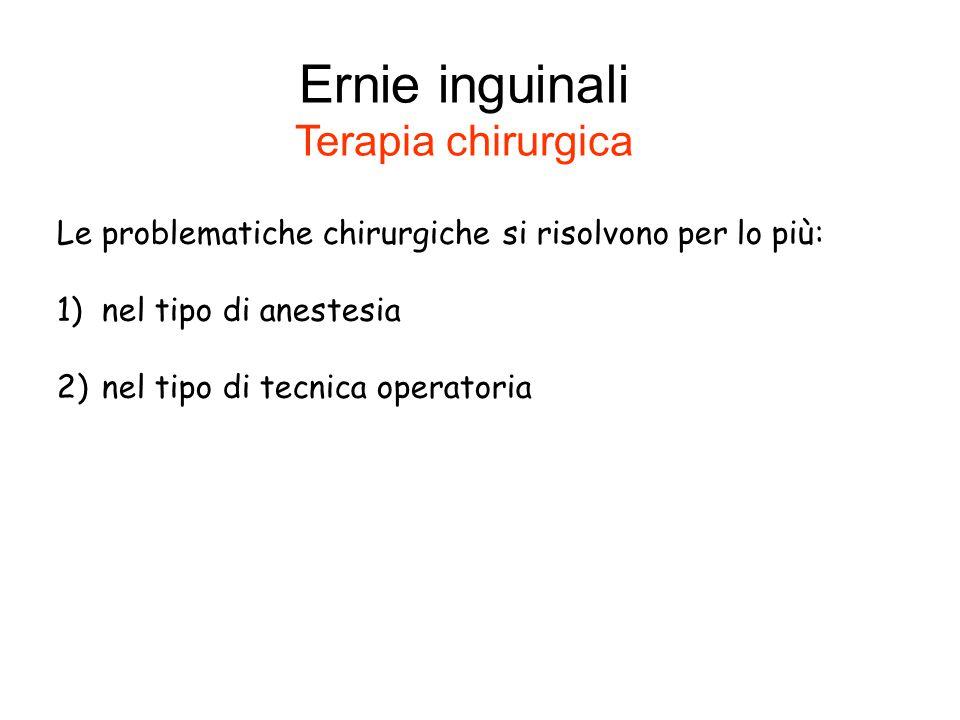 Le problematiche chirurgiche si risolvono per lo più: 1) nel tipo di anestesia 2) nel tipo di tecnica operatoria Ernie inguinali Terapia chirurgica