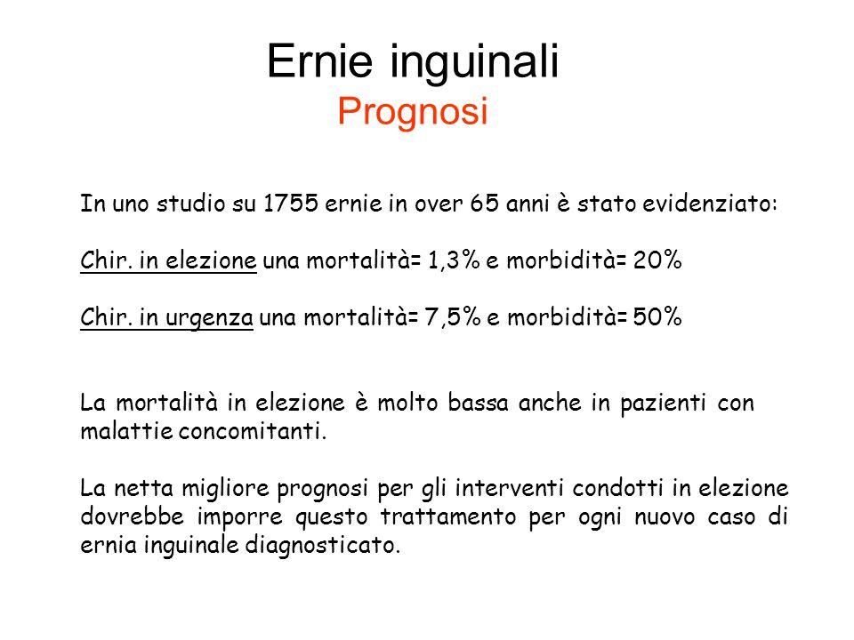 Ernie inguinali Prognosi In uno studio su 1755 ernie in over 65 anni è stato evidenziato: Chir. in elezione una mortalità= 1,3% e morbidità= 20% Chir.