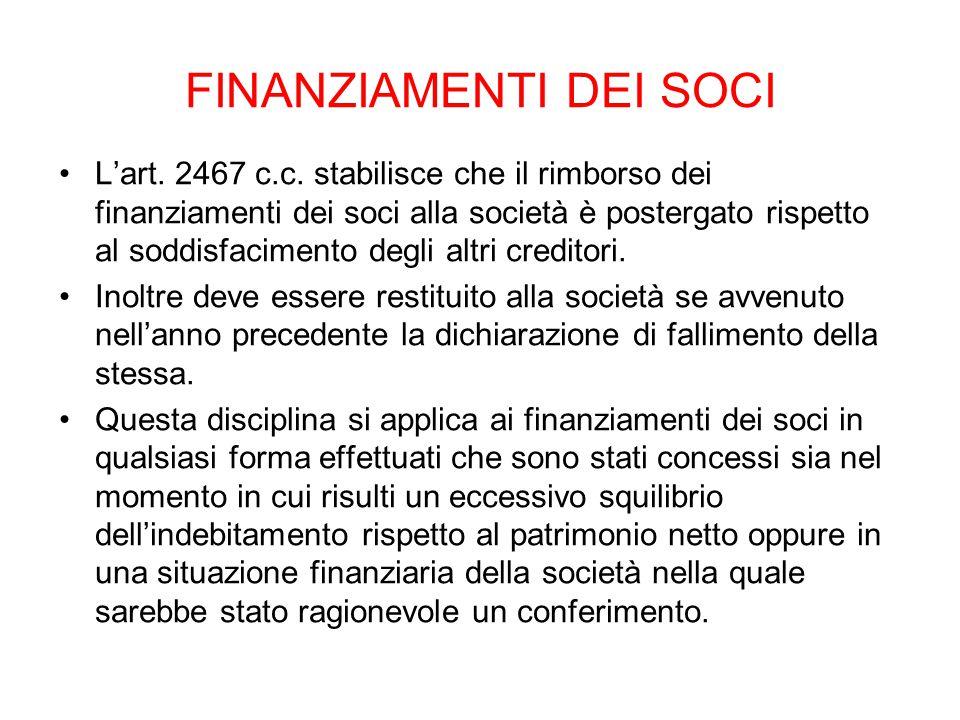 FINANZIAMENTI DEI SOCI L'art. 2467 c.c. stabilisce che il rimborso dei finanziamenti dei soci alla società è postergato rispetto al soddisfacimento de