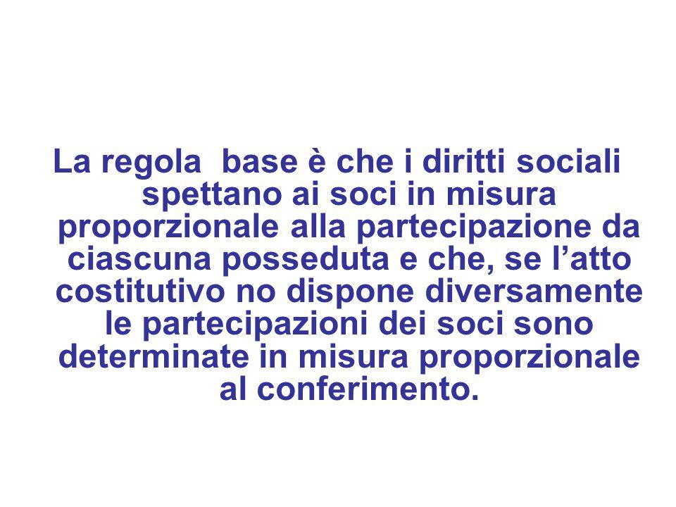 La regola base è che i diritti sociali spettano ai soci in misura proporzionale alla partecipazione da ciascuna posseduta e che, se l'atto costitutivo