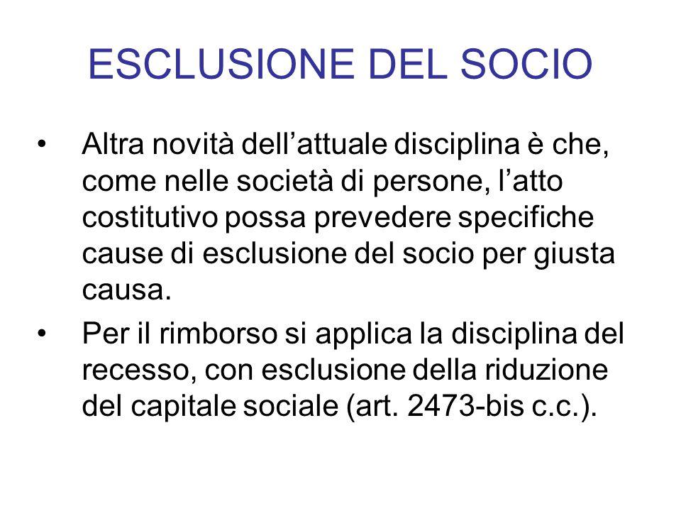 ESCLUSIONE DEL SOCIO Altra novità dell'attuale disciplina è che, come nelle società di persone, l'atto costitutivo possa prevedere specifiche cause di