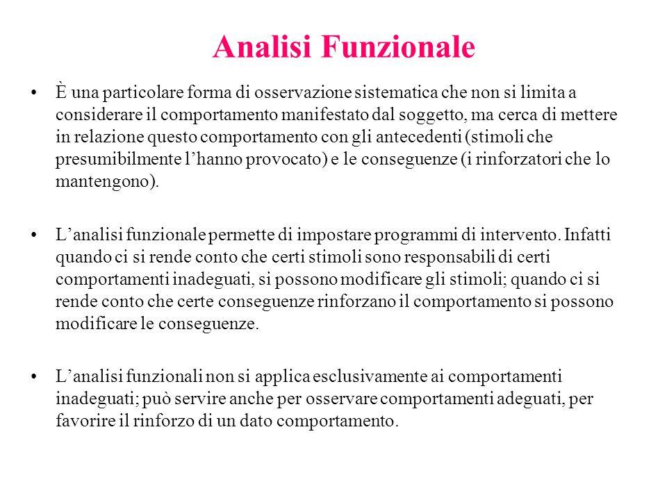 Analisi Funzionale È una particolare forma di osservazione sistematica che non si limita a considerare il comportamento manifestato dal soggetto, ma c