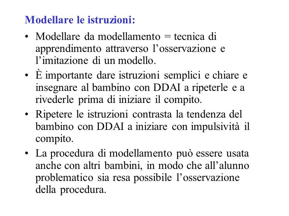 Modellare le istruzioni: Modellare da modellamento = tecnica di apprendimento attraverso l'osservazione e l'imitazione di un modello. È importante dar