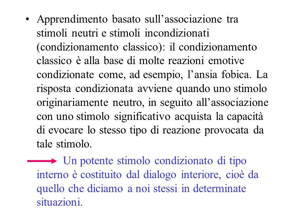 Apprendimento basato sull'associazione tra stimoli neutri e stimoli incondizionati (condizionamento classico): il condizionamento classico è alla base