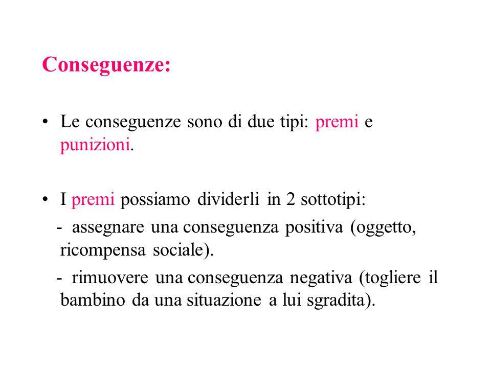 Conseguenze: Le conseguenze sono di due tipi: premi e punizioni. I premi possiamo dividerli in 2 sottotipi: - assegnare una conseguenza positiva (ogge