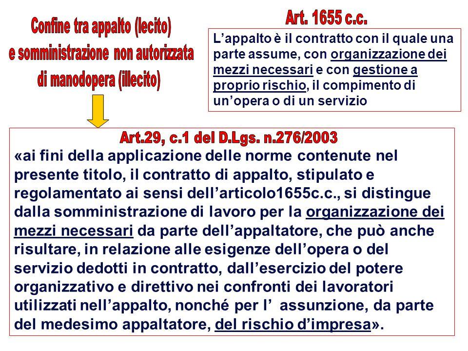 L'appalto è il contratto con il quale una parte assume, con organizzazione dei mezzi necessari e con gestione a proprio rischio, il compimento di un'o