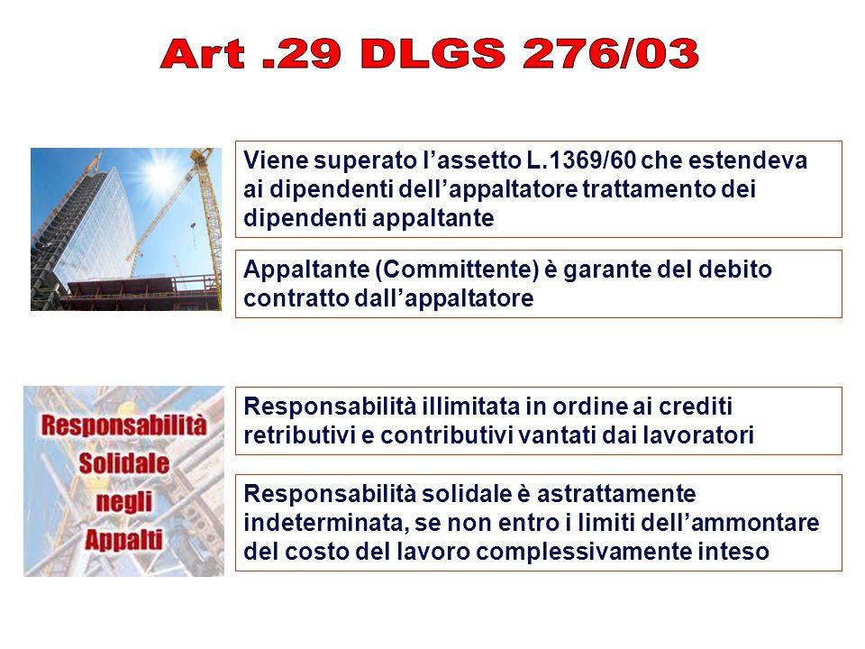 Viene superato l'assetto L.1369/60 che estendeva ai dipendenti dell'appaltatore trattamento dei dipendenti appaltante Appaltante (Committente) è garan