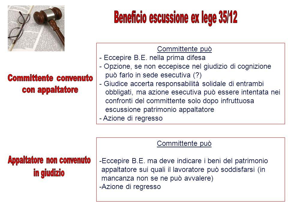 Committente può - Eccepire B.E. nella prima difesa - Opzione, se non eccepisce nel giudizio di cognizione può farlo in sede esecutiva (?) - Giudice ac