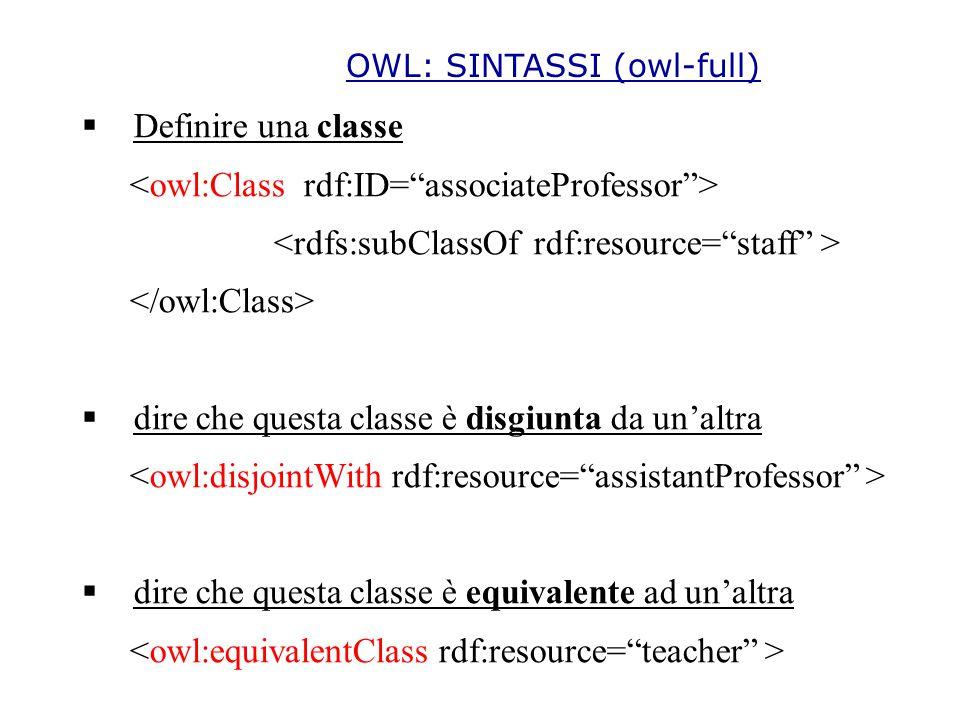 OWL: SINTASSI (owl-full)  Definire una classe  dire che questa classe è disgiunta da un'altra  dire che questa classe è equivalente ad un'altra