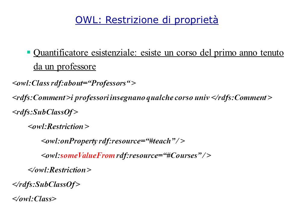  Quantificatore esistenziale: esiste un corso del primo anno tenuto da un professore i professori insegnano qualche corso univ OWL: Restrizione di proprietà