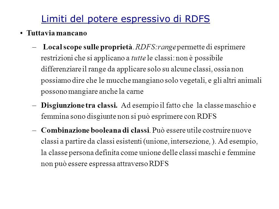 Limiti del potere espressivo di RDFS Tuttavia mancano – Local scope sulle proprietà.