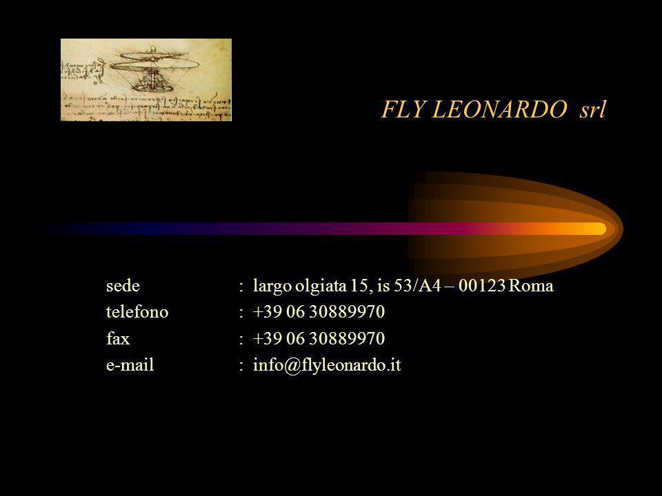 FLY LEONARDO srl sede: largo olgiata 15, is 53/A4 – 00123 Roma telefono : +39 06 30889970 fax: +39 06 30889970 e-mail: info@flyleonardo.it