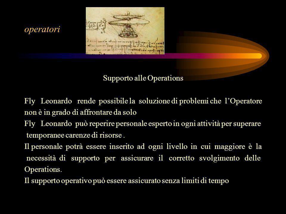 Supporto alle Operations Fly Leonardo rende possibile la soluzione di problemi che l'Operatore non è in grado di affrontare da solo Fly Leonardo può reperire personale esperto in ogni attività per superare temporanee carenze di risorse.