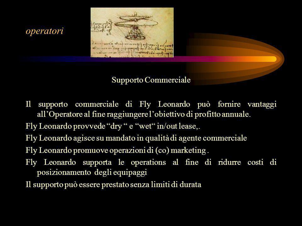 Supporto Commerciale Il supporto commerciale di Fly Leonardo può fornire vantaggi all'Operatore al fine raggiungere l'obiettivo di profitto annuale.