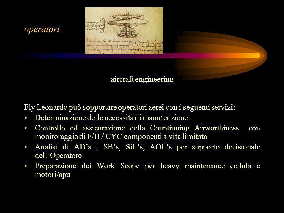 operatori aircraft engineering Fly Leonardo può sopportare operatori aerei con i seguenti servizi: Determinazione delle necessità di manutenzione Cont