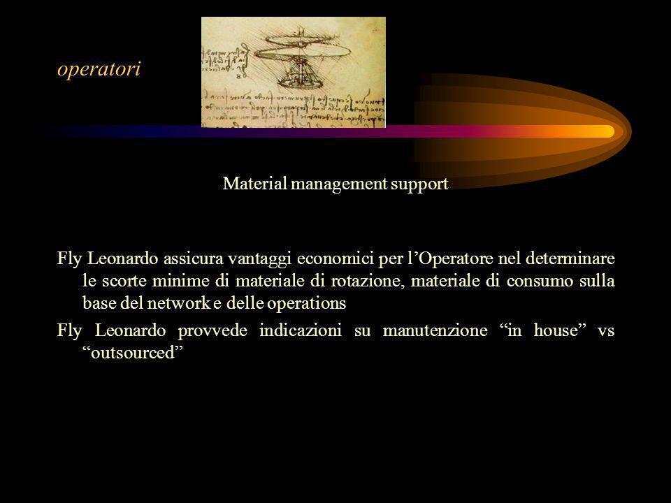 operatori Material management support Fly Leonardo assicura vantaggi economici per l'Operatore nel determinare le scorte minime di materiale di rotazi