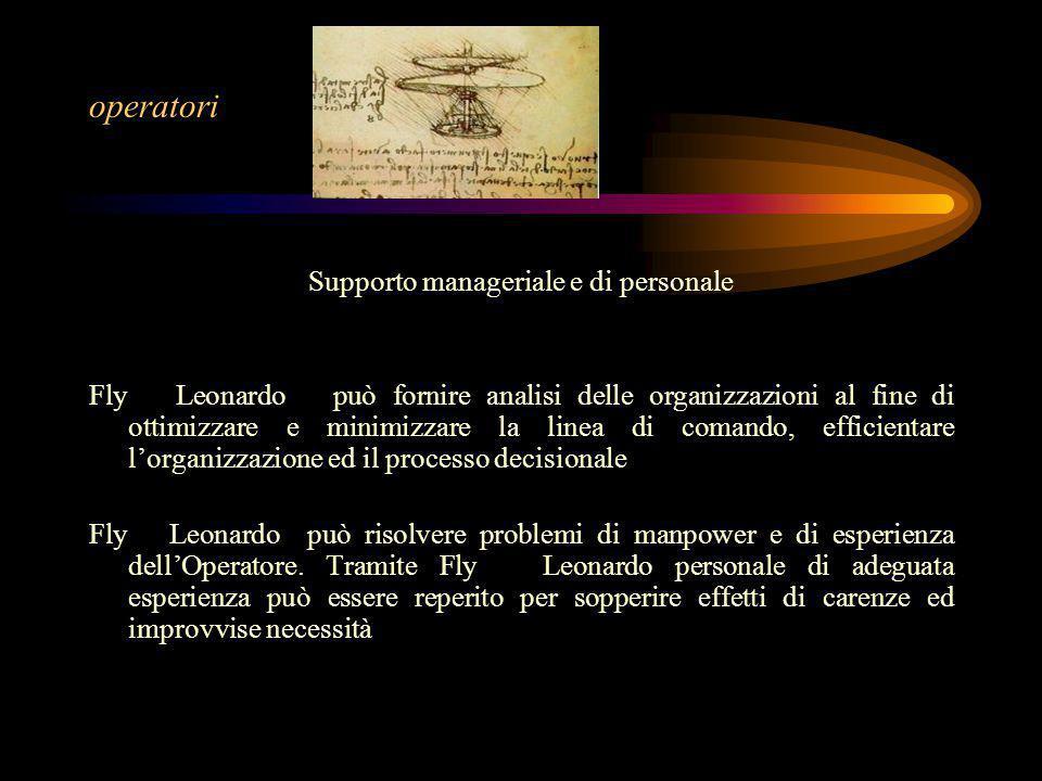 operatori Supporto manageriale e di personale Fly Leonardo può fornire analisi delle organizzazioni al fine di ottimizzare e minimizzare la linea di c