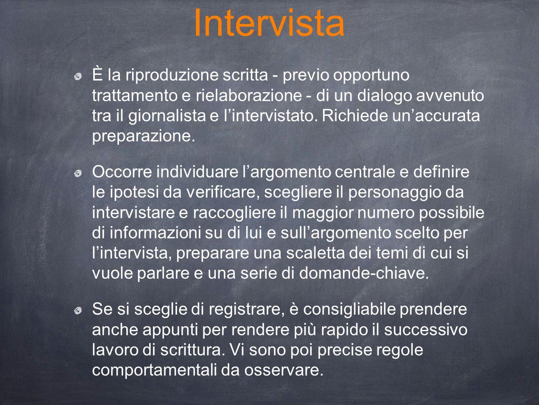 Intervista È la riproduzione scritta - previo opportuno trattamento e rielaborazione - di un dialogo avvenuto tra il giornalista e l'intervistato. Ric