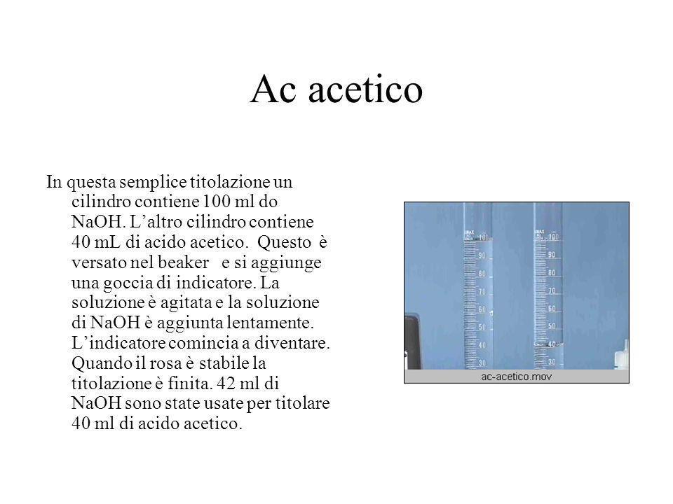 Ac acetico In questa semplice titolazione un cilindro contiene 100 ml do NaOH. L'altro cilindro contiene 40 mL di acido acetico. Questo è versato nel