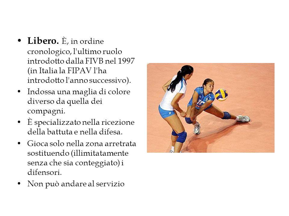 Libero. È, in ordine cronologico, l'ultimo ruolo introdotto dalla FIVB nel 1997 (in Italia la FIPAV l'ha introdotto l'anno successivo). Indossa una ma