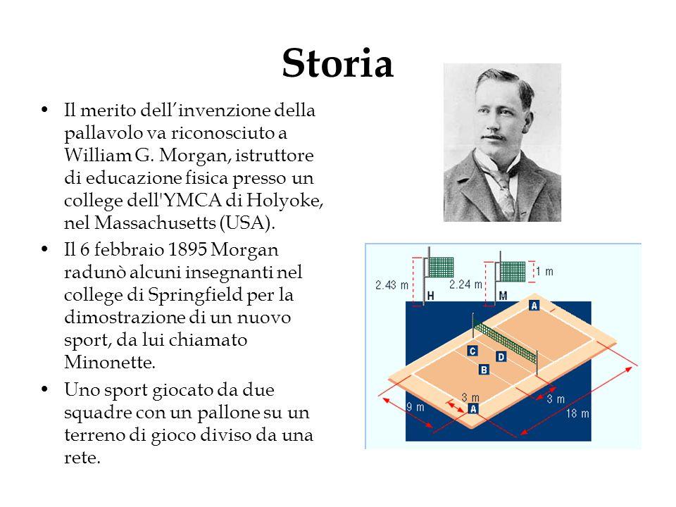 Storia Il merito dell'invenzione della pallavolo va riconosciuto a William G. Morgan, istruttore di educazione fisica presso un college dell'YMCA di H