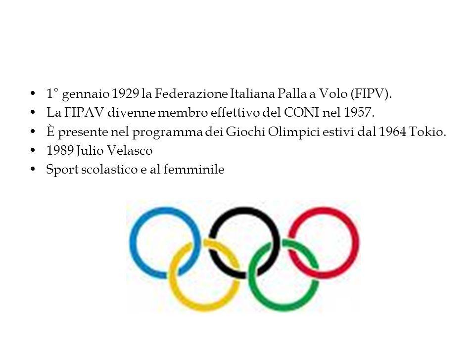 1° gennaio 1929 la Federazione Italiana Palla a Volo (FIPV). La FIPAV divenne membro effettivo del CONI nel 1957. È presente nel programma dei Giochi