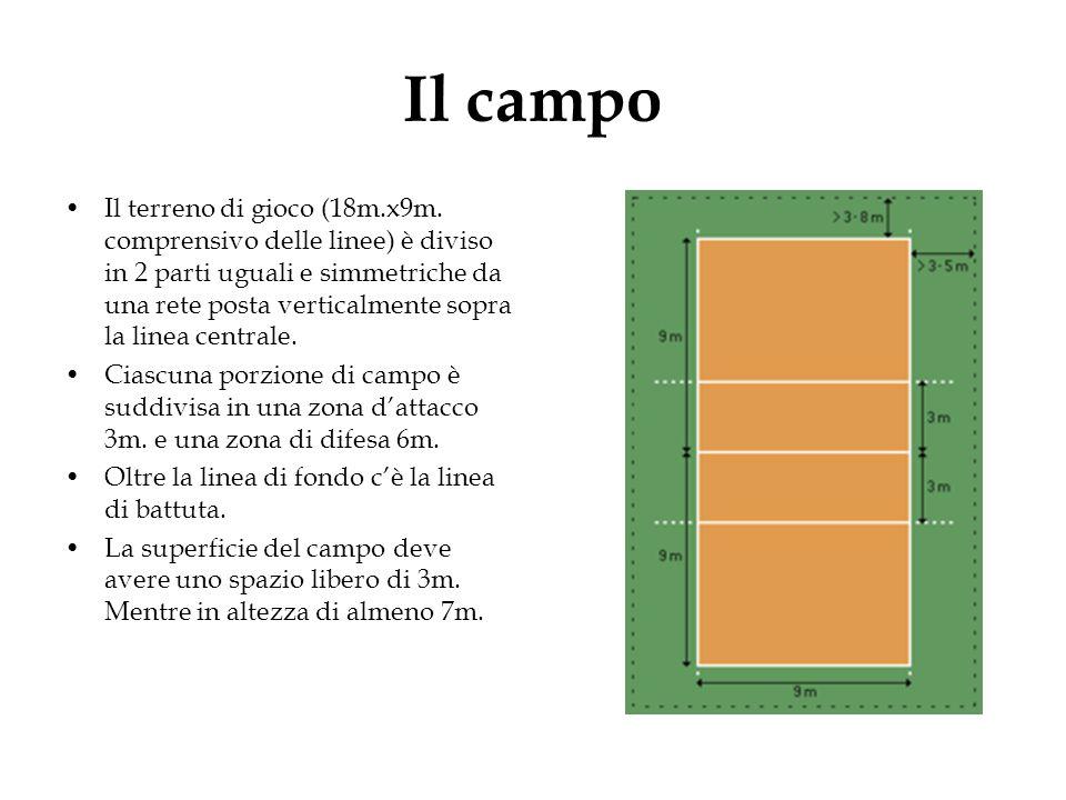 Il campo Il terreno di gioco (18m.x9m. comprensivo delle linee) è diviso in 2 parti uguali e simmetriche da una rete posta verticalmente sopra la line