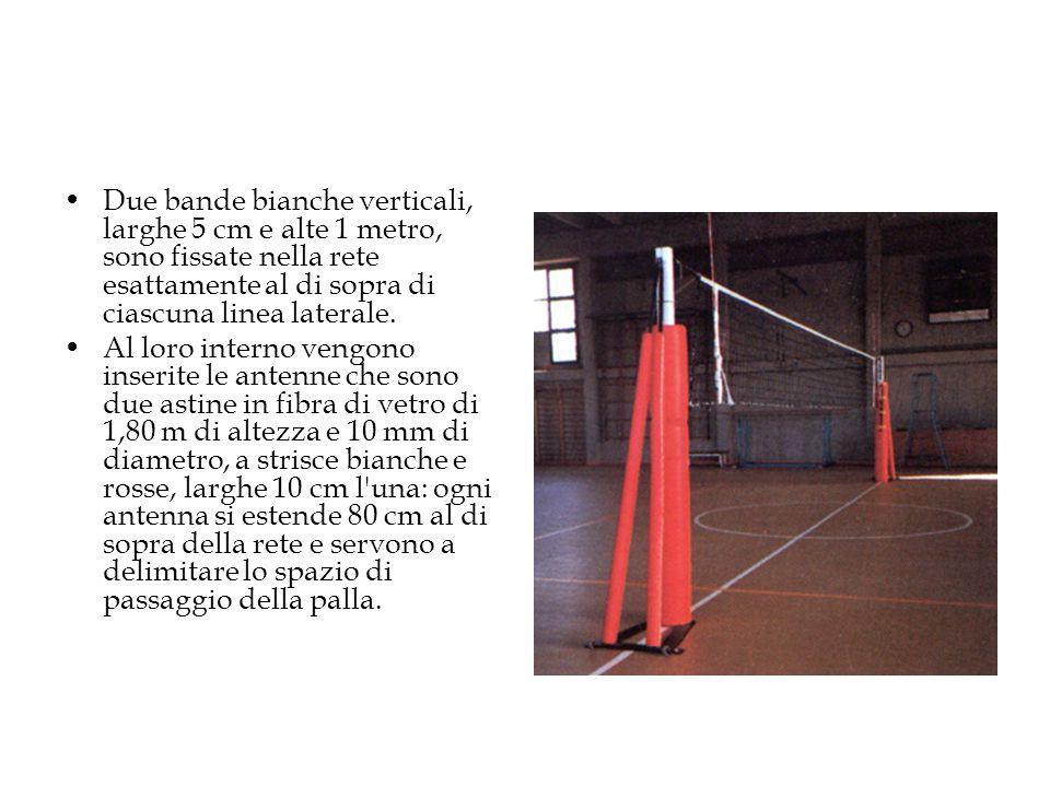 Due bande bianche verticali, larghe 5 cm e alte 1 metro, sono fissate nella rete esattamente al di sopra di ciascuna linea laterale. Al loro interno v