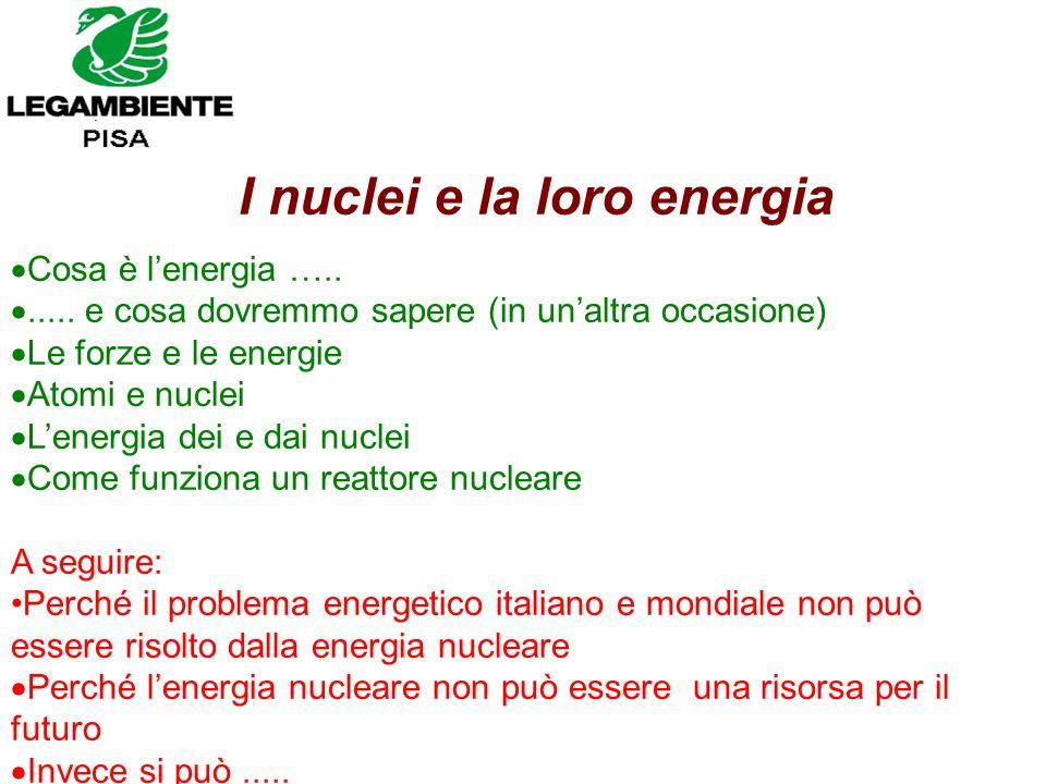 I nuclei e la loro energia  Cosa è l'energia ….. ..... e cosa dovremmo sapere (in un'altra occasione)  Le forze e le energie  Atomi e nuclei  L'e