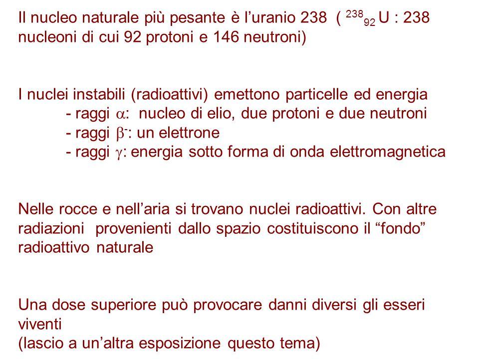 Il nucleo naturale più pesante è l'uranio 238 ( 238 92 U : 238 nucleoni di cui 92 protoni e 146 neutroni) I nuclei instabili (radioattivi) emettono pa