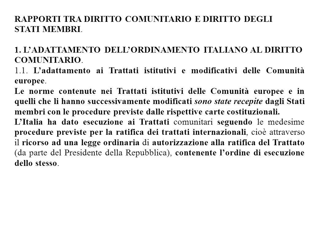 RAPPORTI TRA DIRITTO COMUNITARIO E DIRITTO DEGLI STATI MEMBRI. 1. L'ADATTAMENTO DELL'ORDINAMENTO ITALIANO AL DIRITTO COMUNITARIO. 1.1. L'adattamento a