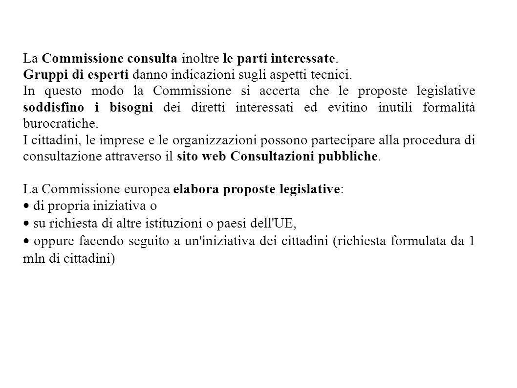 La Commissione consulta inoltre le parti interessate. Gruppi di esperti danno indicazioni sugli aspetti tecnici. In questo modo la Commissione si acce
