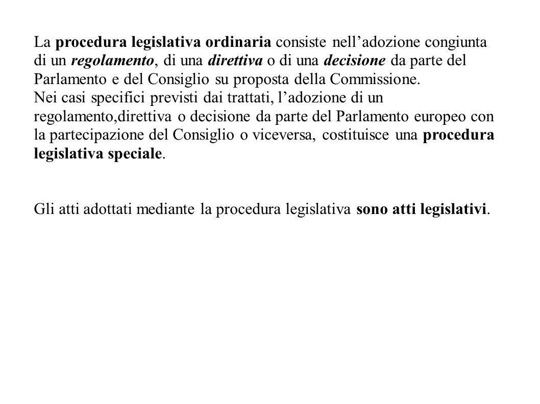 La procedura legislativa ordinaria consiste nell'adozione congiunta di un regolamento, di una direttiva o di una decisione da parte del Parlamento e d