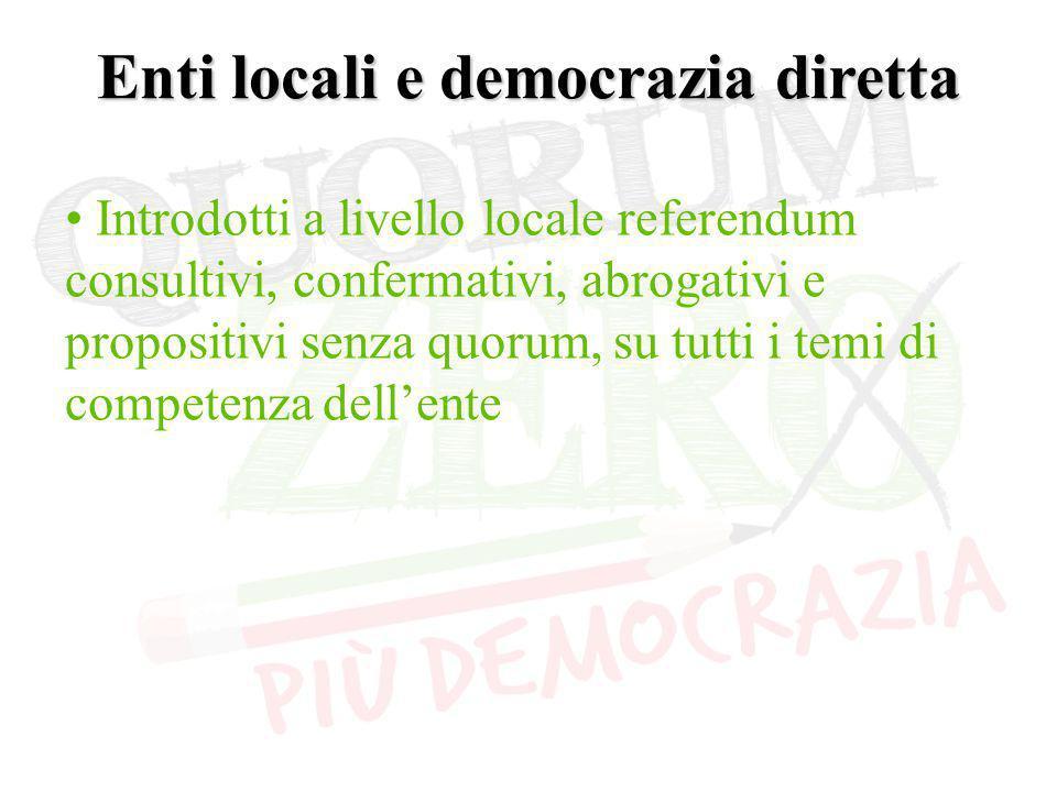 Enti locali e democrazia diretta Introdotti a livello locale referendum consultivi, confermativi, abrogativi e propositivi senza quorum, su tutti i temi di competenza dell'ente