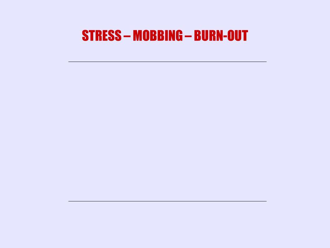 MOBBING BURN-OUT STRESS STRESS – MOBBING – BURN-OUT
